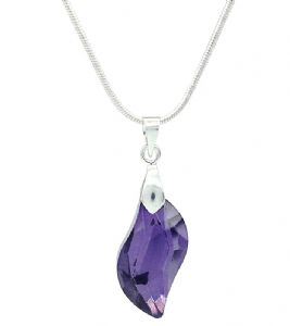 Crystal Glass  Amethyst Purple Wave Shaped Drop Pendant / Necklace